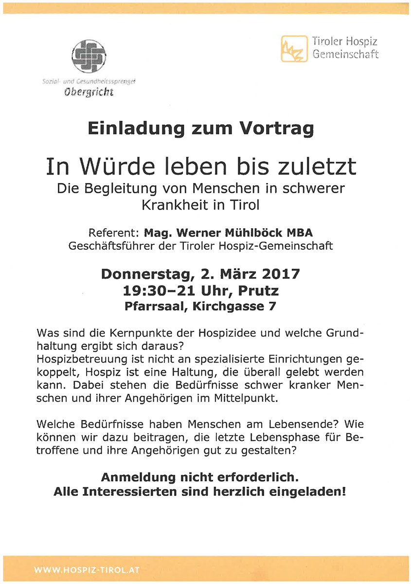 Vortrag Hospiz-Gemeinschaft Tirol