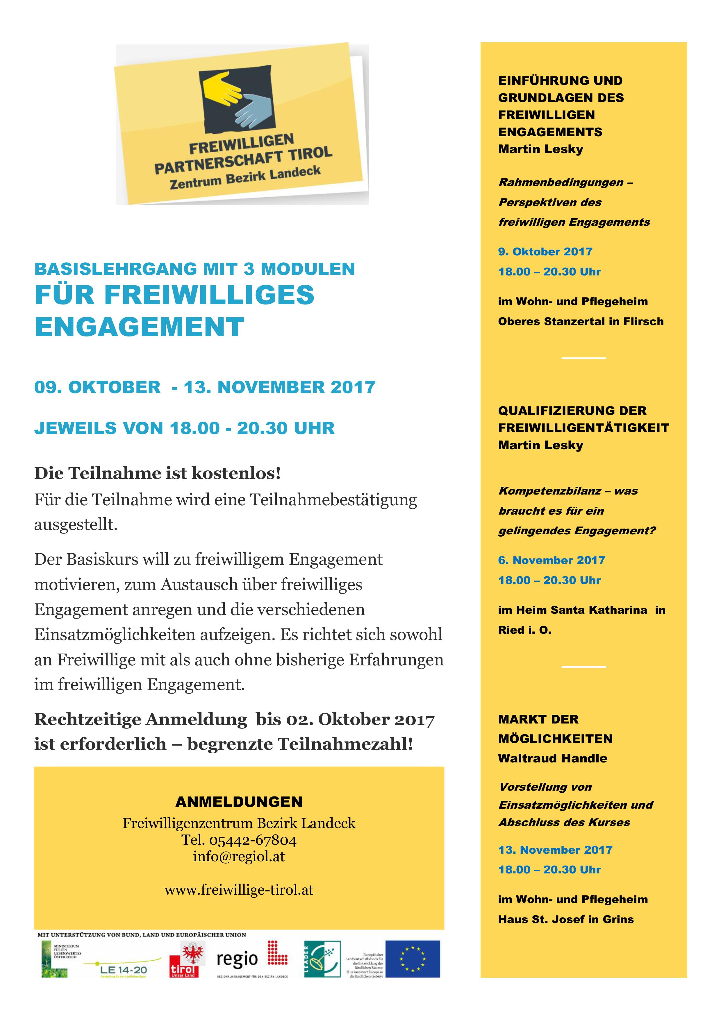 Einladung Basislehrgang für freiwilliges Engagement (Bezirk Landeck)