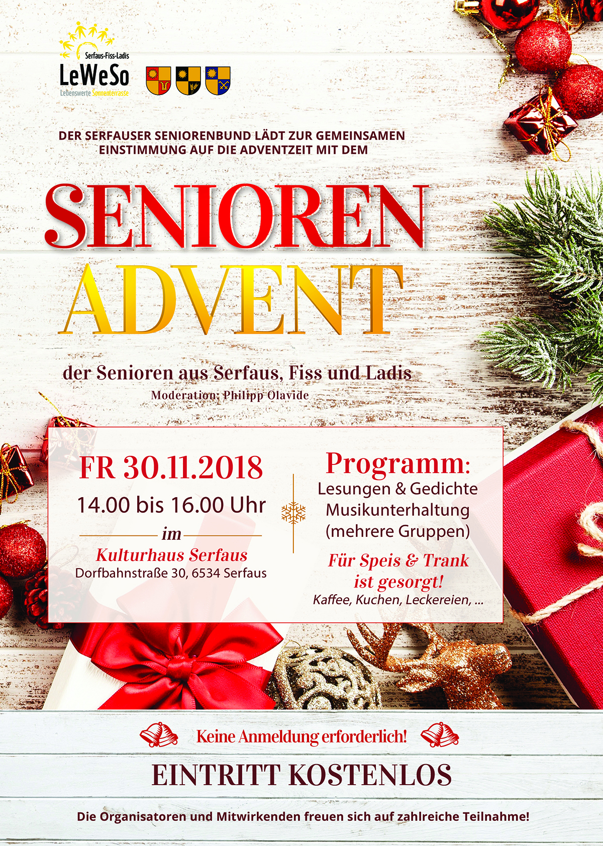Plakat Seniorenadvent in Serfaus-Fiss-Ladis